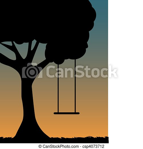 Tree Swing Silhouette at dusk - csp4073712
