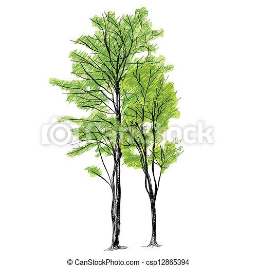 Tree Vector - Hand Drawn - csp12865394