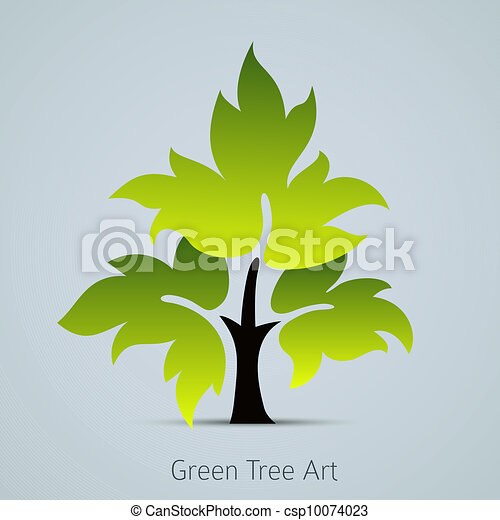 Tree vector icon with green leaves - csp10074023