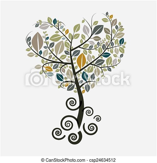 Tree Vector Symbol with Curled Roots - csp24634512