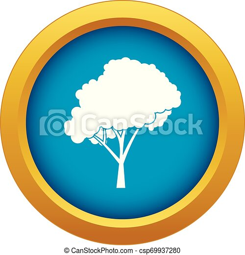 Tree with a rounded crown icon blue vector isolated - csp69937280