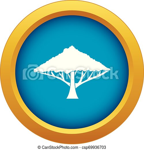 Tree with a spreading crown icon blue vector isolated - csp69936703