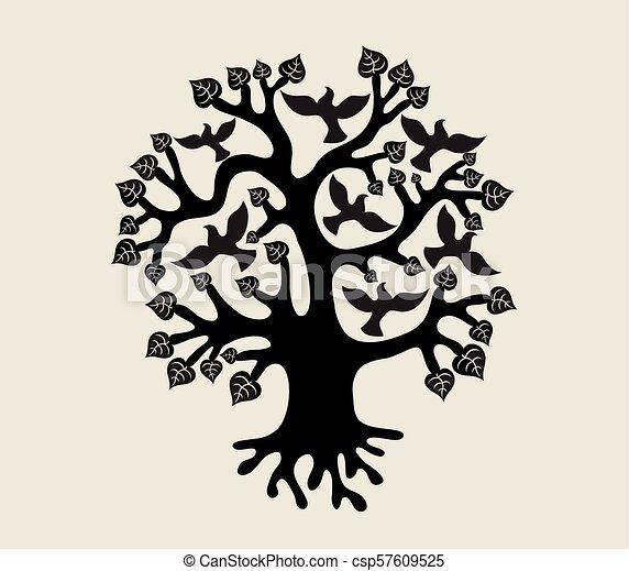 Tree with Birds Silhouette - csp57609525