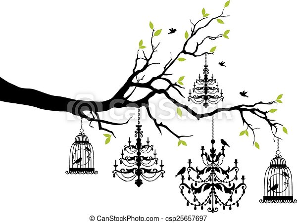 tree with chandelier and birdcage - csp25657697
