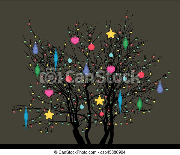 tree with Christmas toys - csp45886924