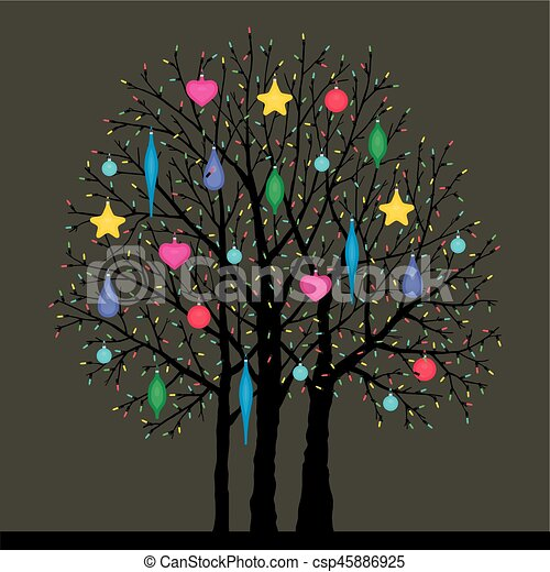 tree with Christmas toys - csp45886925