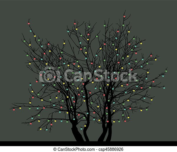 tree with Christmas toys - csp45886926