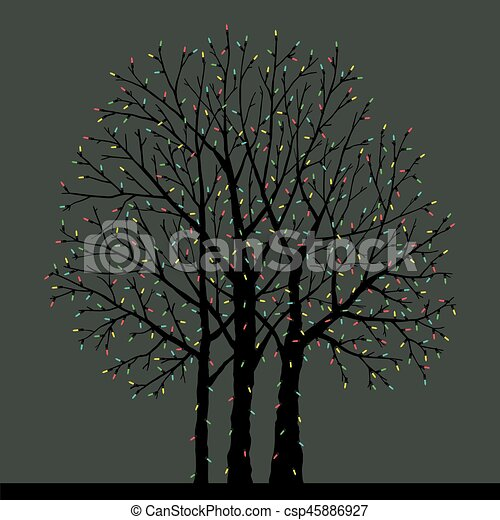 tree with Christmas toys - csp45886927