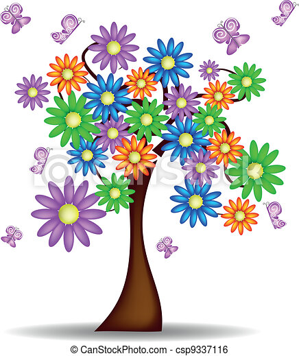 Spring Tree With Flowers And Butterflies