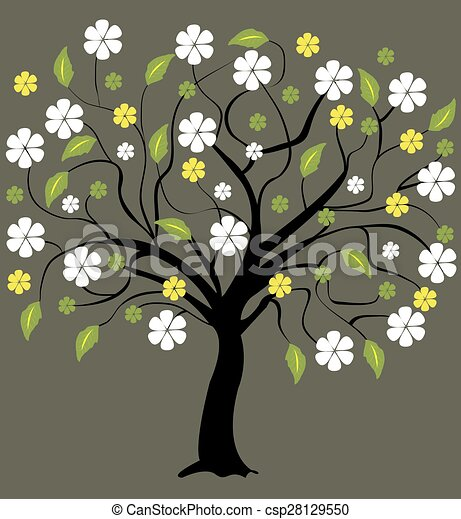 Tree with flowers  - csp28129550
