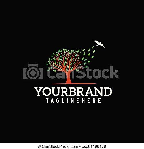 tree with flying bird logo - csp61196179