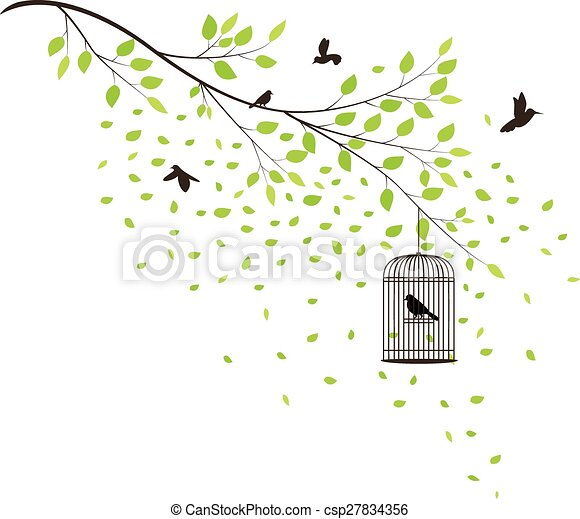 Tree with flying birds - csp27834356