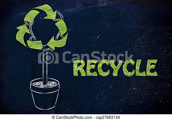 Tree With Foliage In Shape Of Recycling Symbol With Grass Texture