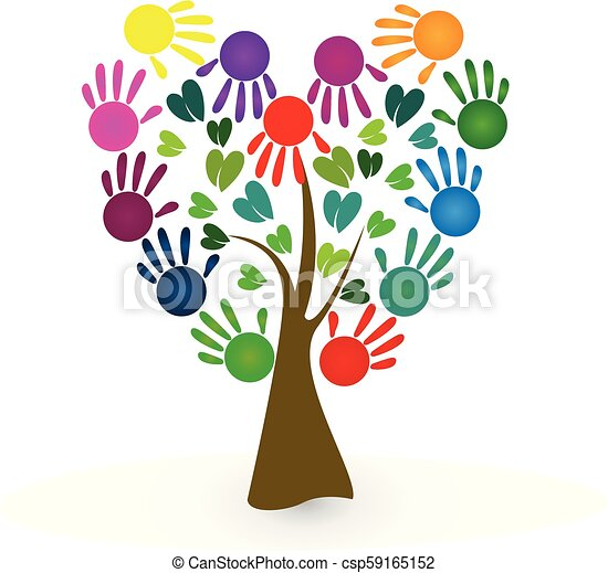 tree with hand print paint hands as leafs symbol design illustration