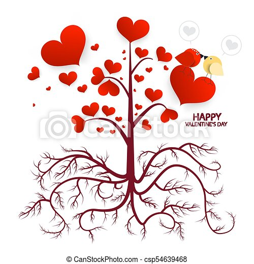 Tree with Hearts Isolated on White Background. Vector Valentines Day Card. - csp54639468