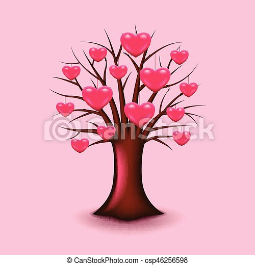 Tree with hearts isolated vector - csp46256598