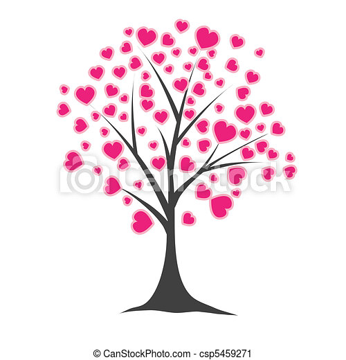 Tree with hearts. Vector illustration - csp5459271