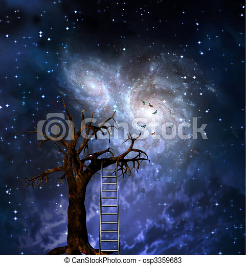 tree with ladder and space drawings search clipart illustration rh canstockphoto ie Cartoon Space Galaxy Clip Art