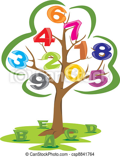 tree with letters and numbers science literacy and numeracy the rh canstockphoto com eps file vector graphics eps vector graphics free download