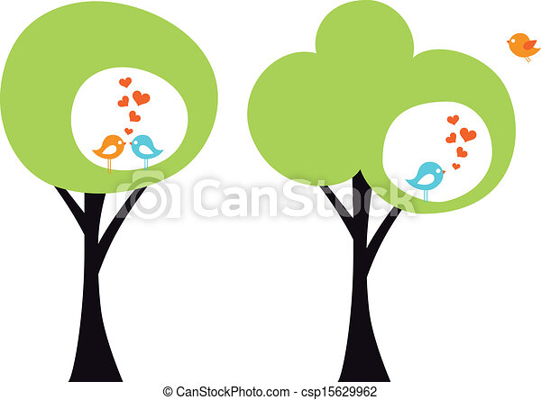 tree with love birds, vector - csp15629962