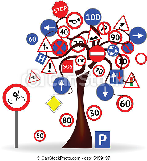 Tree with road signs - csp15459137