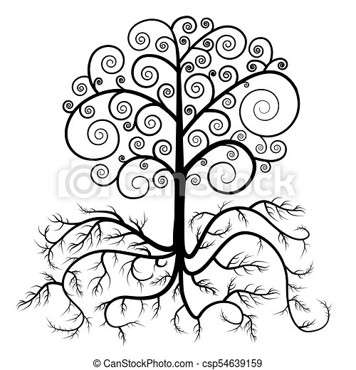 Tree with Roots Vector - csp54639159