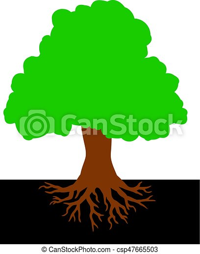 tree with roots vector illustration - csp47665503