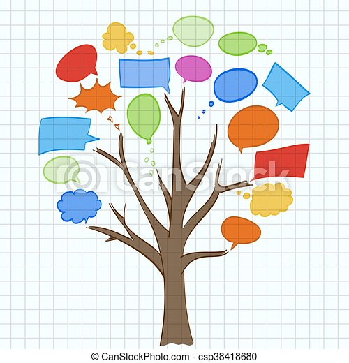 tree with speech bubbles on sheet of paper - csp38418680