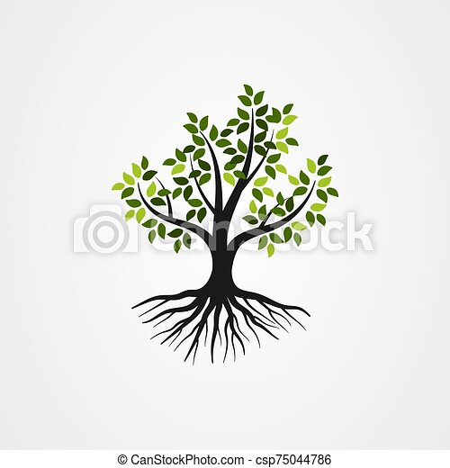 Tree with the roots vector illustration - csp75044786