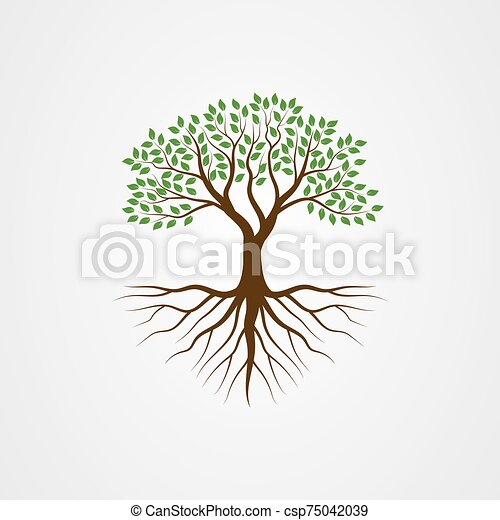 Tree with the roots vector illustration - csp75042039