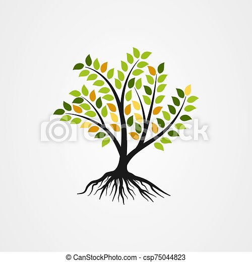 Tree with the roots vector illustration - csp75044823