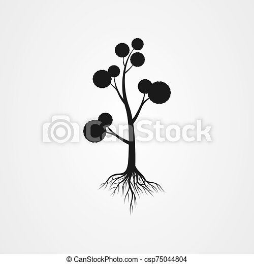 Tree with the roots vector illustration - csp75044804