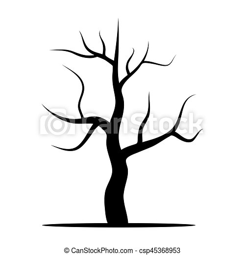Tree Without Leaves Vector Illustration Isolated On A White Background