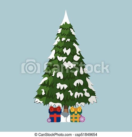 Tree XMas icon. Cartoon style. Vector Illustration for Christmas day - csp51849654