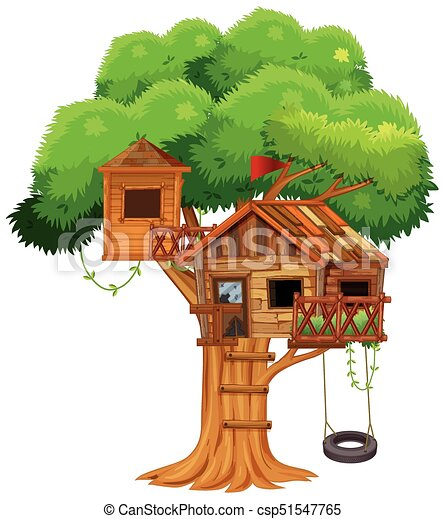 treehouse with swing on the tree illustration clip art vector rh canstockphoto com magic treehouse clipart Diaper Clip Art