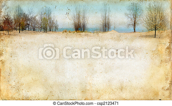 Trees Along a Lake on Grunge Background - csp2123471