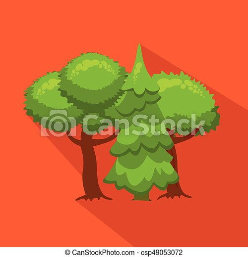 Trees and fir in nature. Hunting season. Flat, cartoon style. - csp49053072