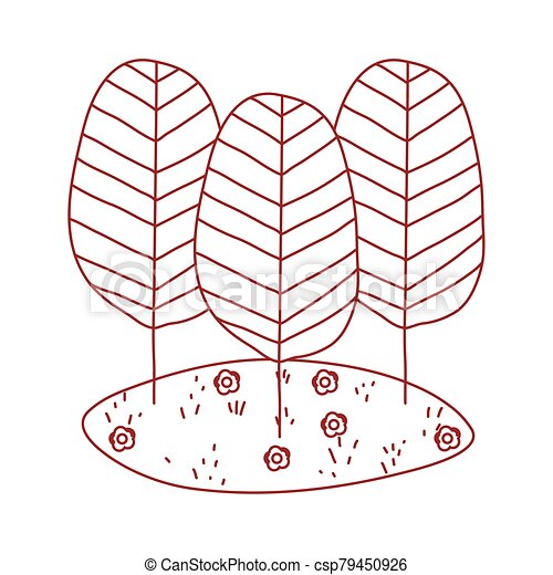 trees botanical cartoon isolated icon design line style - csp79450926