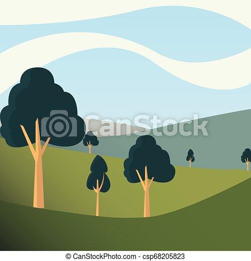 trees hills day sky natural landscape - csp68205823