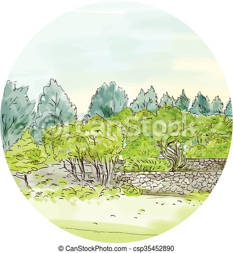 Trees in Park with Cornwall Oval Watercolor - csp35452890
