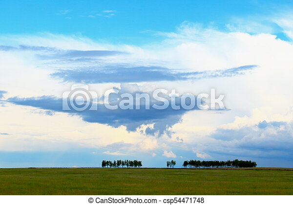Trees on green field against epic cloudy blue sky - csp54471748