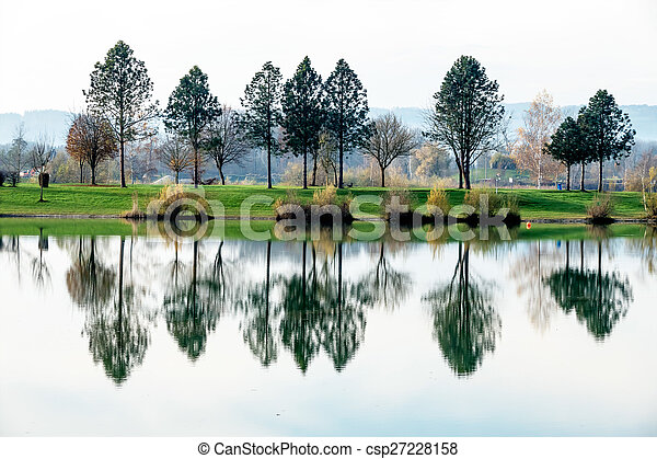 trees reflecting in the lake - csp27228158