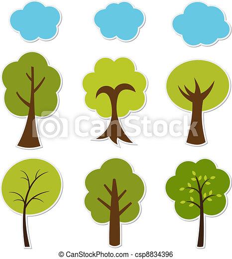 Trees vector set - csp8834396