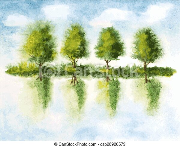 trees with reflections in lake water. watercolor vector illustration - csp28926573