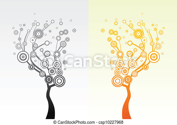 Trees with round leaves. Vector - csp10227968