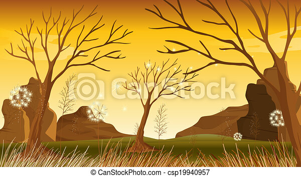 Trees without leaves at the forest - csp19940957