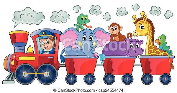 trein, dieren, vrolijke  - csp24554474