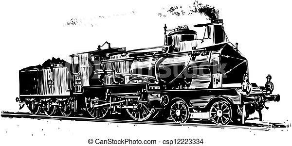 trein, silhouette - csp12223334