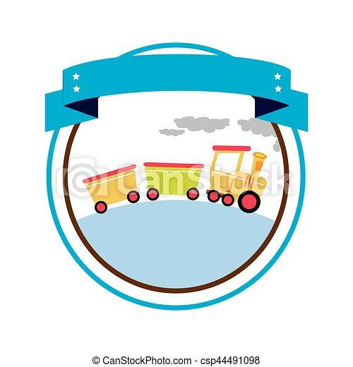trein, speelbal, grens, circulaire, etiket - csp44491098
