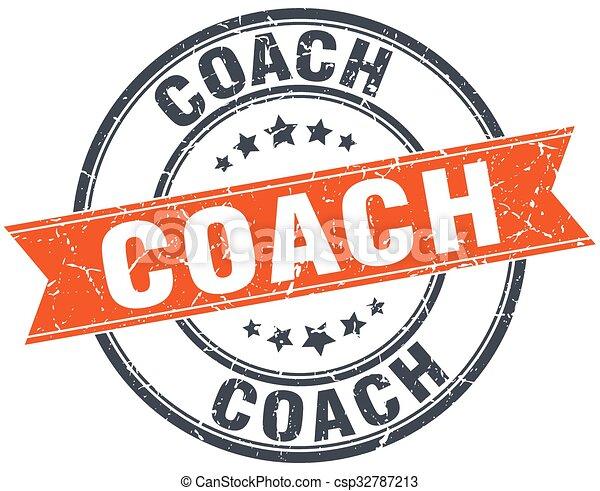 treinador, selo, vindima, isolado, laranja, grungy, redondo - csp32787213